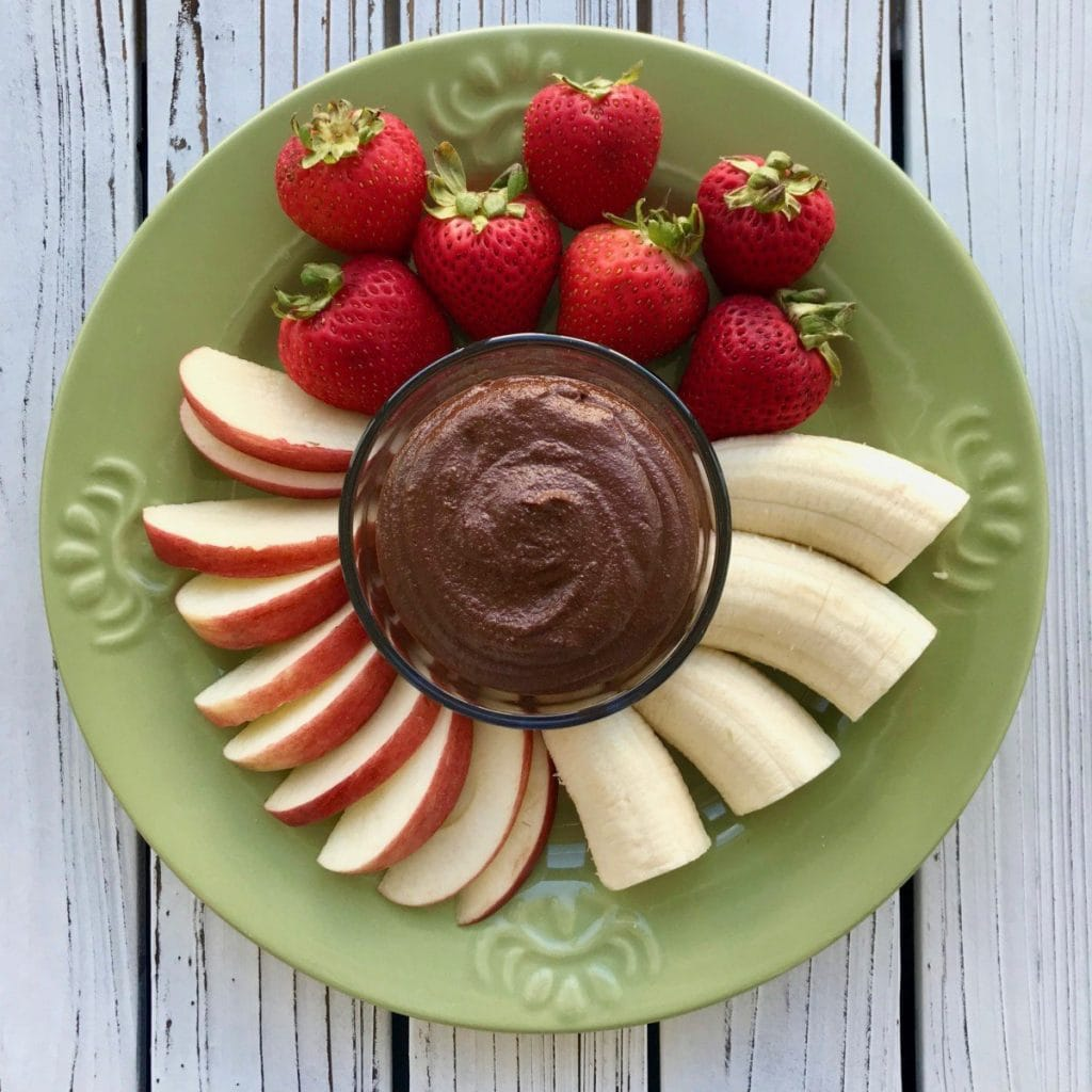 Healthy vegan chocolate fruit dip