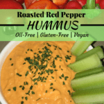 Red Pepper Hummus, Oil-Free and Vegan
