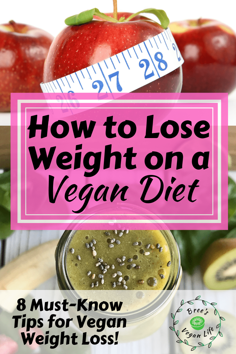 "An apple with a measuring tape around it and a green smoothie, with text that says, ""How to Lose Weight on a Vegan Diet."""