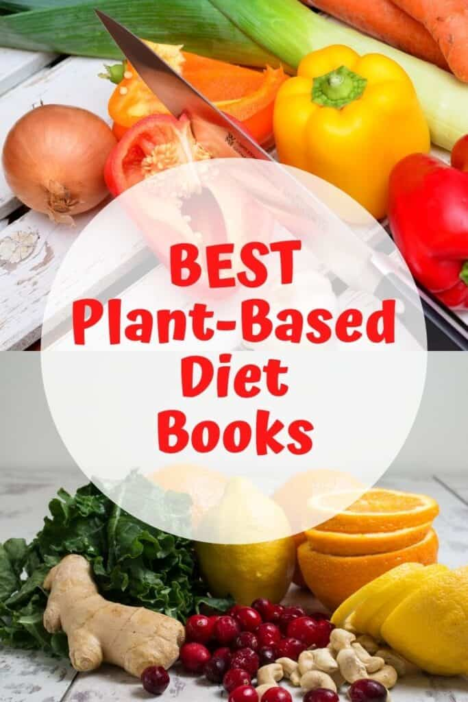 "Fruits and vegetables behind text that says, ""Best Plant-Based Diet Books."""