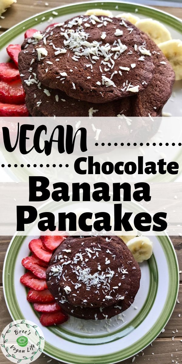 Pin image of vegan chocolate banana pancakes