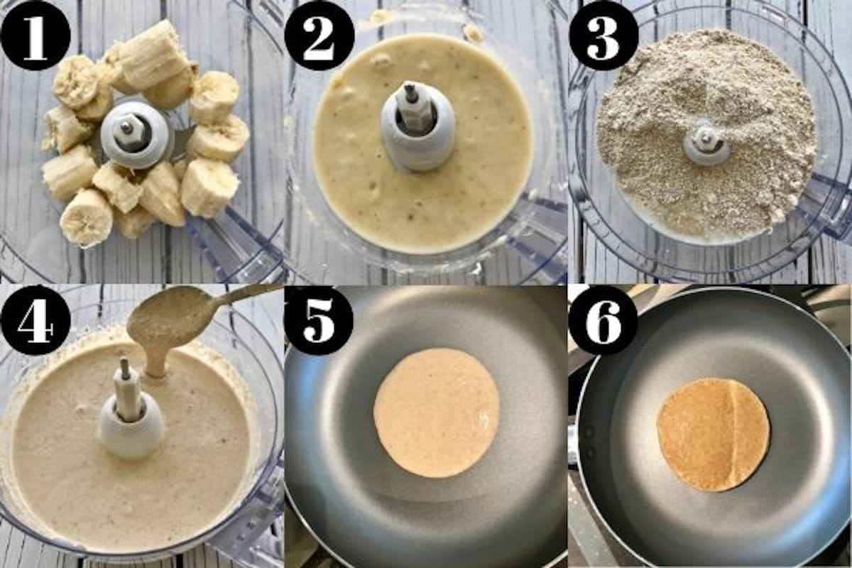 A grid of six images showing the process for making banana pancakes, including blending the ingredients in a food processor and cooking in a pan.