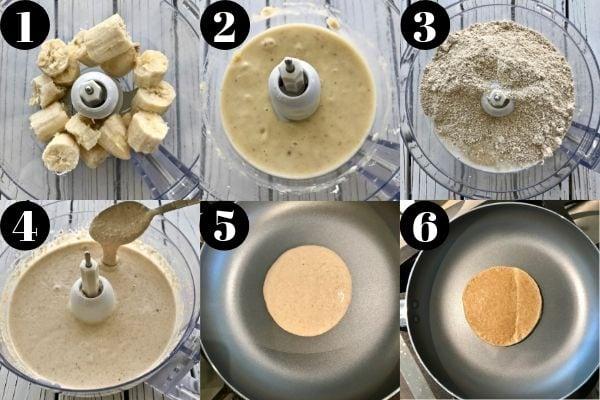 Steps for making these 3-ingredient vegan banana pancakes.