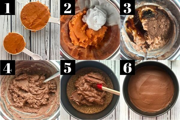 6 images showing the process of making a chocolate sweet potato pie filling and spreading it onto a crust.