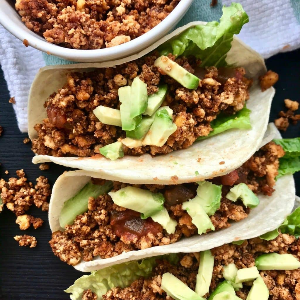 Tofu crumble in vegan tacos