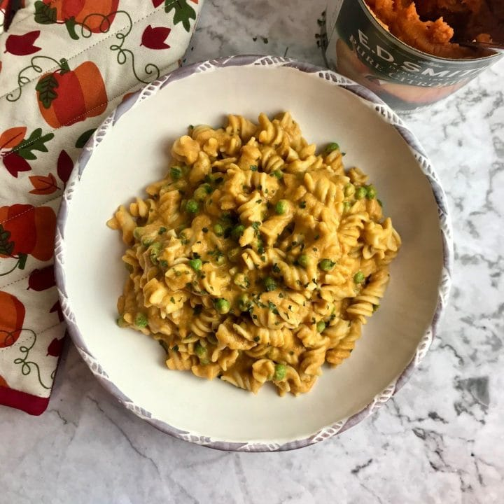 Plate of vegan pumpkin pasta