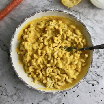 Vegan mac and cheese in a large bowl.