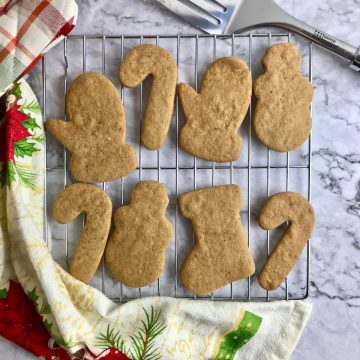 Vegan coconut sugar cookies on a cooling rack.