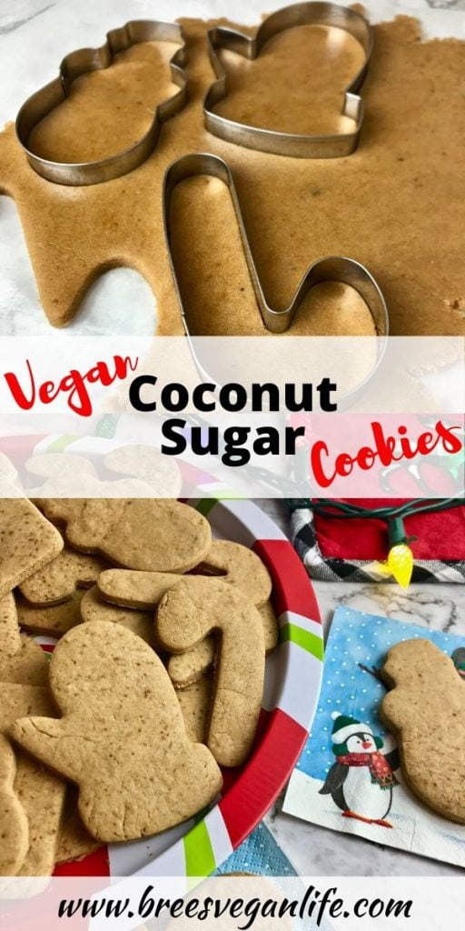Pinterest image for vegan coconut sugar cookies.