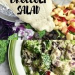 """Broccoli salad with creamy dressing and text that says, """"Broccoli Salad Vegan and Oil-Free."""""""