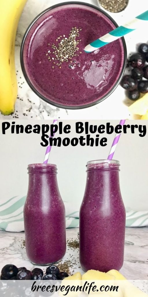 Overhead view of a purple smoothie on top, and two jars of purple smoothie on the bottom with blueberries and pineapple chunks.