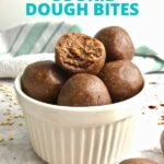 Chocolate cookie dough balls in a small white bowl