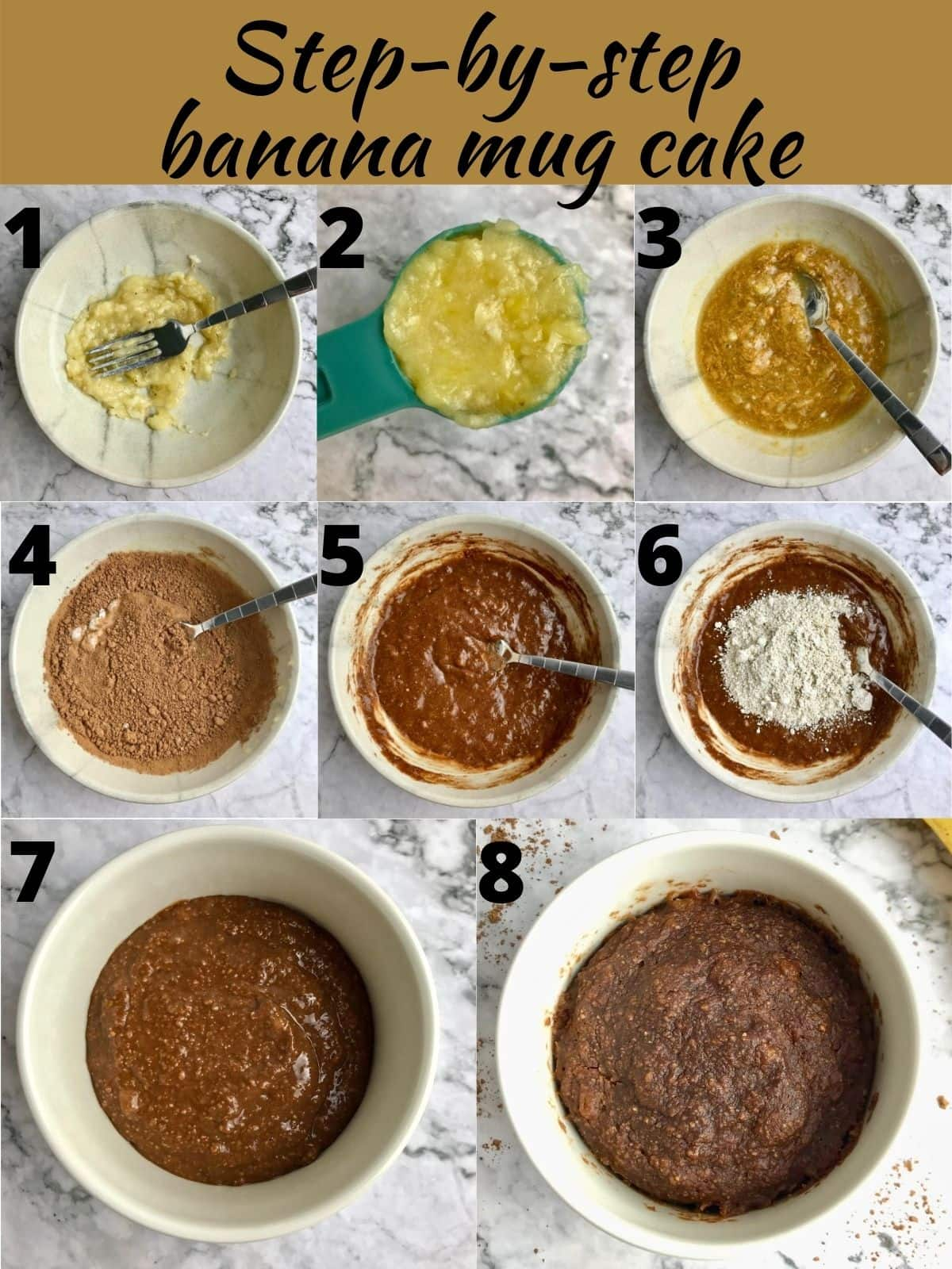 Step by step images of how to make a vegan banana mug brownie.