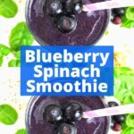 Two blueberry smoothies with text between them that reads: blueberry spinach smoothie.