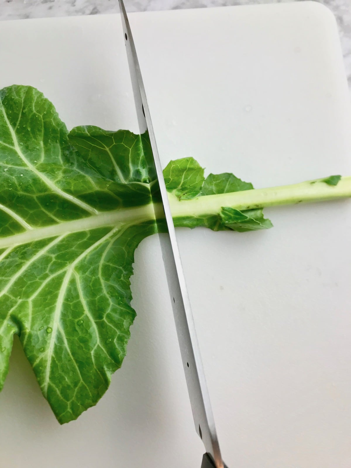A knife cutting the stem off of a collard leaf.