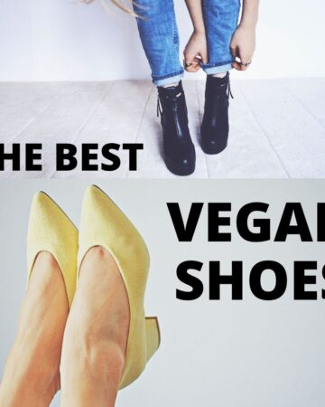 "A black pair of shoes and a yellow pair of shoes on women's feet, with text that says, ""The Best Vegan Shoes."""