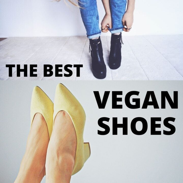 """A black pair of shoes and a yellow pair of shoes on women's feet, with text that says, """"The Best Vegan Shoes."""""""