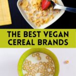 """Two bowls of cereal with text that says, """"The Best Vegan Cereal Brands."""""""