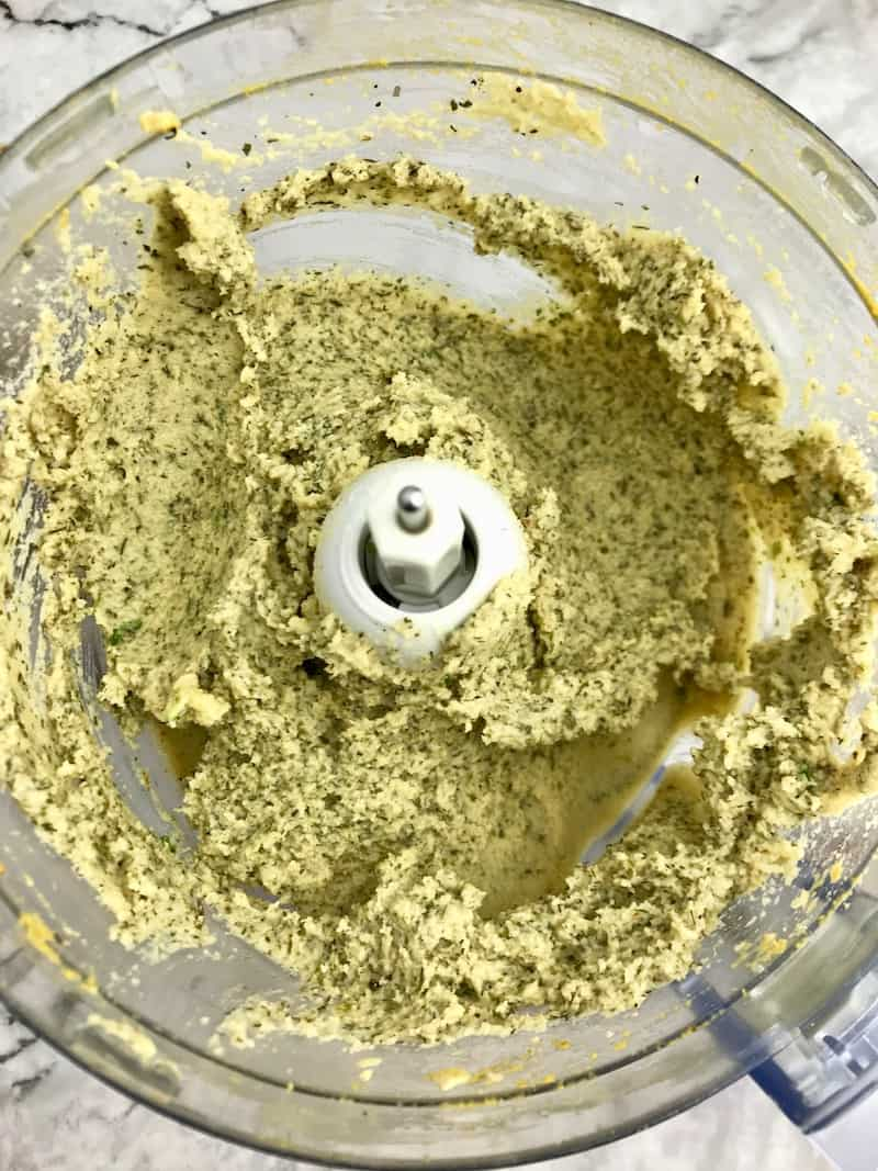 Cashew cheese ball ingredients mixed in a food processor.