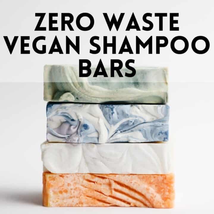 """A stack of soap bars under text that says, """"Zero Waste Vegan Shampoo Bars."""""""