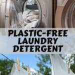 "A washing machine and sheets on a clothes line with text that says, ""Plastic-Free Laundry Detergent."""
