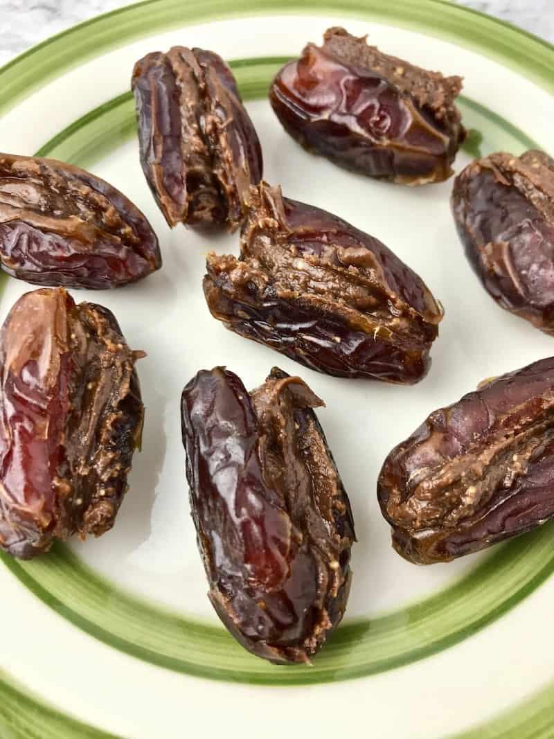 Medjool dates stuffed with chocolate peanut butter.