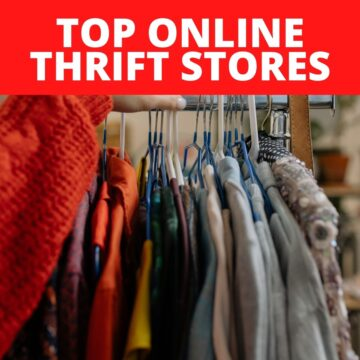I rack of tops on hangers with text that says Top Online Thrift Stores.