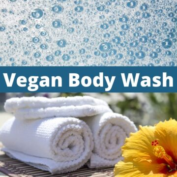 "Soap bubbles and folded towels with text that says, ""Vegan Body Wash."""