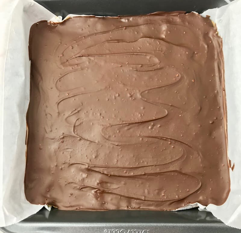 A dish of chocolate peanut butter bars that have been firmed up in the fridge.