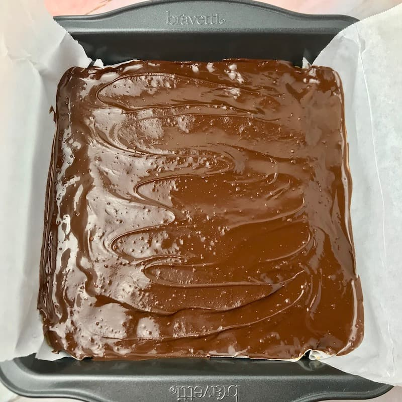 A baking dish of chocolate peanut butter bars with melted chocolate spread on top.