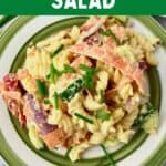 """A plate of pasta with text that says, """"Hummus Pasta Salad."""""""