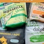 """Four packages of vegan cheese and text that says, """"Vegan Cheese Brands."""""""