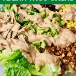A bowl of taco salad with text that says Vegan Taco Salad.
