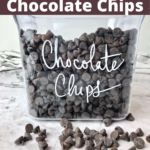 A container of chocolate chips.