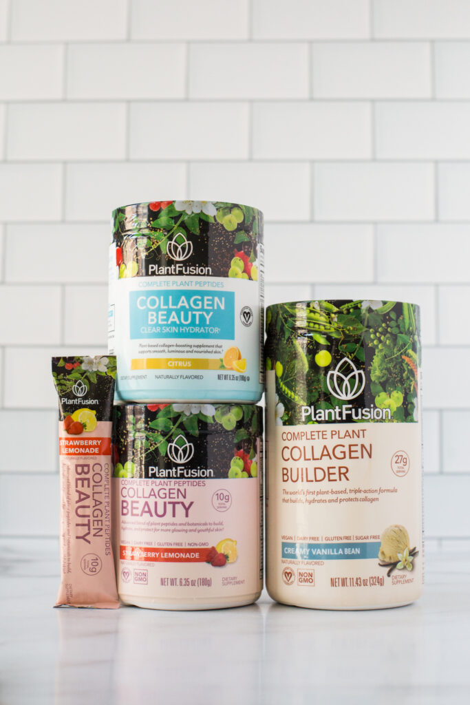 Three collagen supplement containers and one collagen bar from PlantFusion.