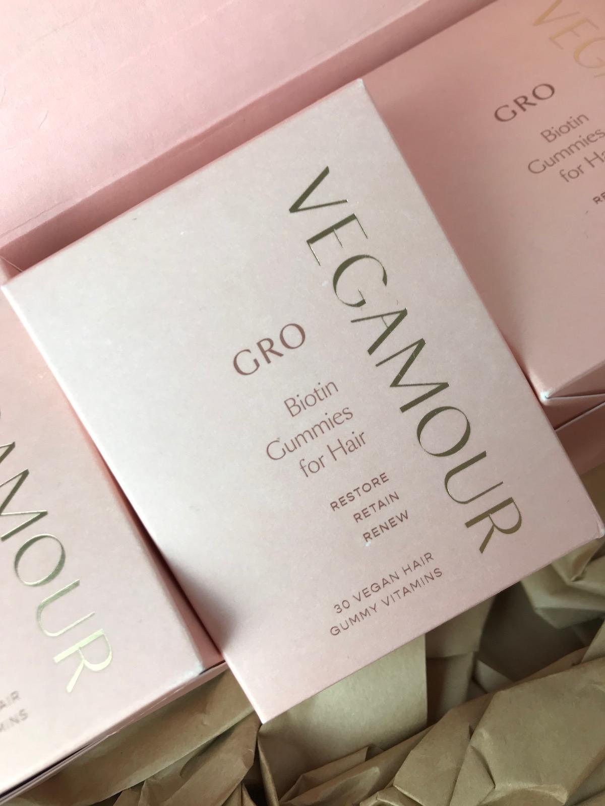 A box of Vegamour vegan hair gummies.