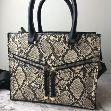 A faux-snakeskin handbag.