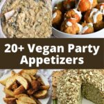 Four vegan appetizers, including dip, chickpea balls, potato wedges, and a cheese ball.