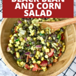 A black bean and corn salad in a wooden bowl.