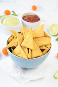 A bowl of chickpea chips.