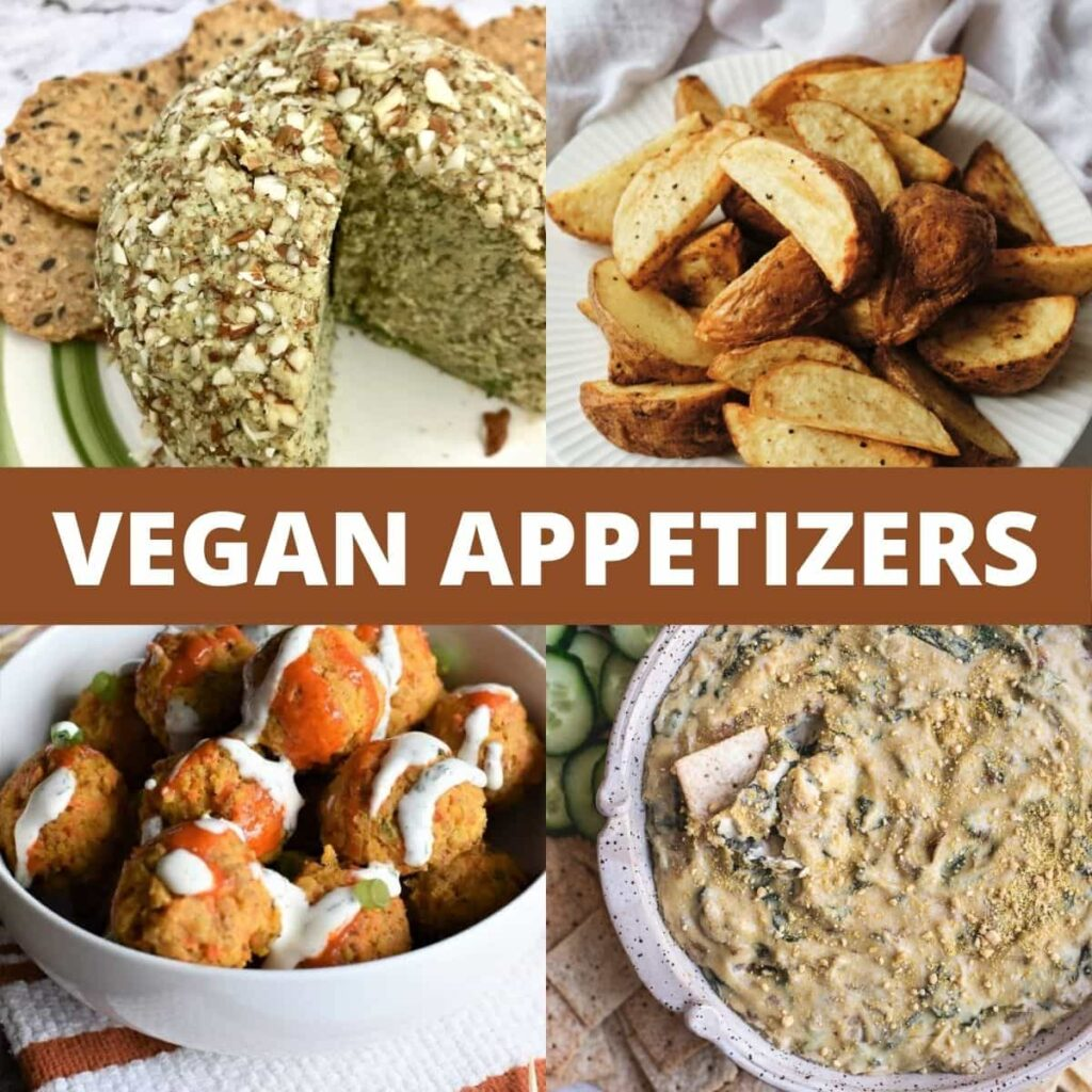 4 separate vegan appetizers: cheese ball, wedges, chickpea balls, and spinach artichoke dip.