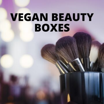 A cup of makeup brushes with text that says Vegan Beauty Boxes.