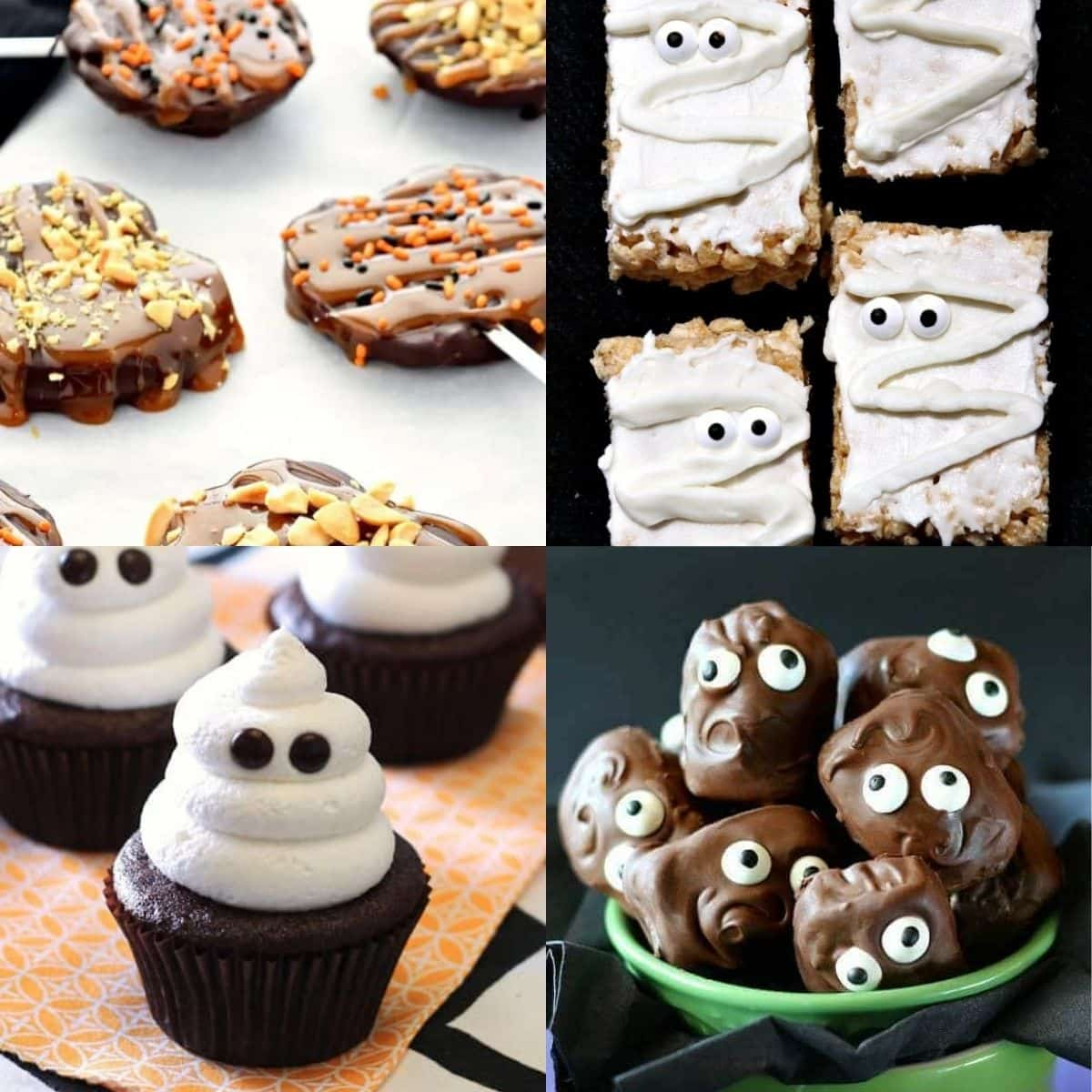 Four different vegan Halloween treats.