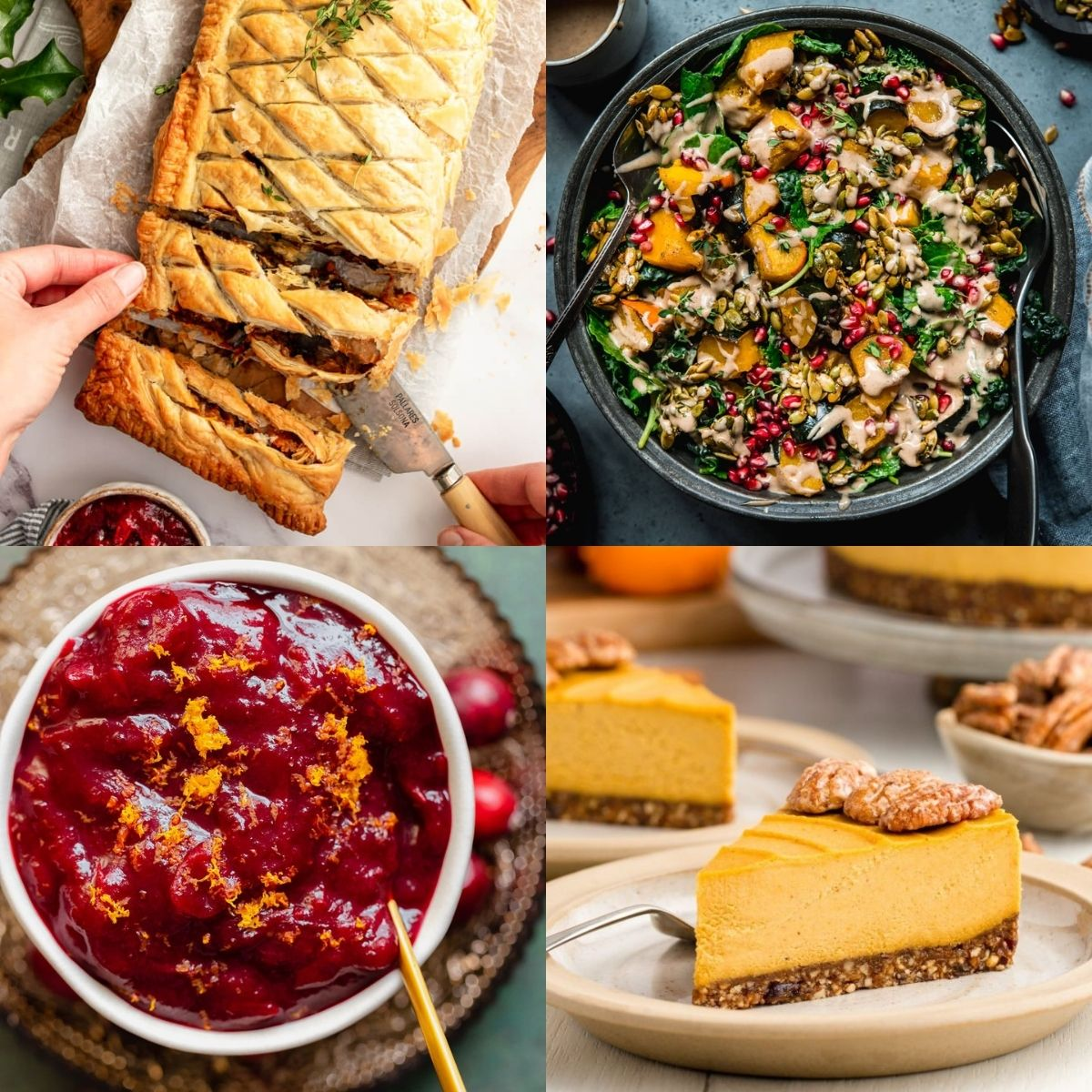 Four Thanksgiving food recipes, mushroom wellington, cranberry sauce, salad, and pie.