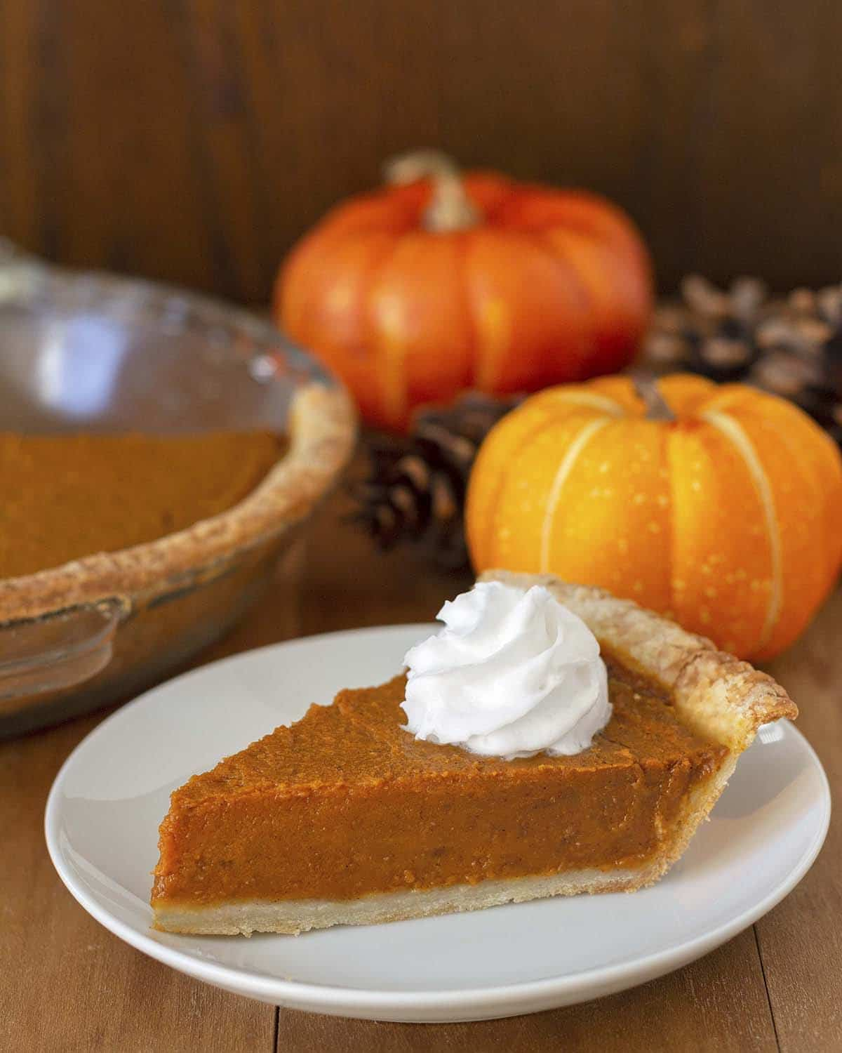 A slice of vegan pumpkin pie with two mini pumpkins in the background.